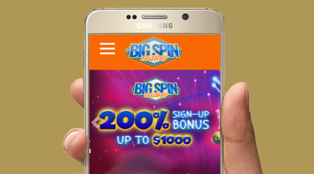 BigSpin casino offer you a good experience on a mobile device